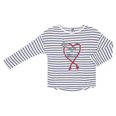 Junior - Long-sleeved striped tee-shirt with print