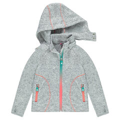Microfleece lined knit zip-knit cardigan with detachable hood