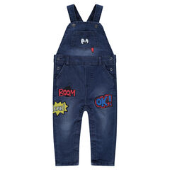 Used-effect jersey-lined denim overalls with contrasting badges