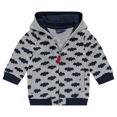 Hooded fleece jacket with BATMAN printed all over