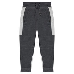 Two-tone fleece sweatpants with seamed details