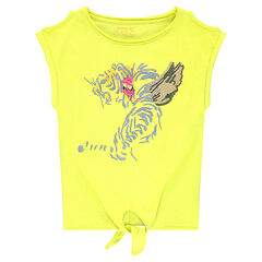 Junior - Short-sleeved bare-shouldered tee-shirt with a tiger print