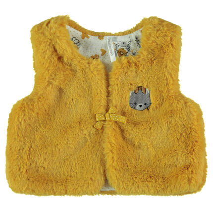 Sleeveless mustard yellow sherpa cardigan with an embroidered cat