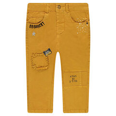 Canvas pants with badges and embroidered details