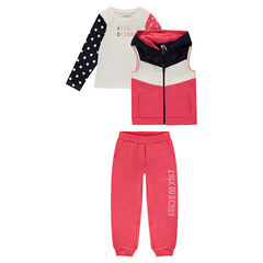 3-piece sweatsuit with a printed message and sequined motifs