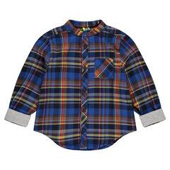 Long-sleeved checkered shirt with pocket