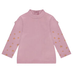 Thin mock turtleneck sweater with sparkly printed stars