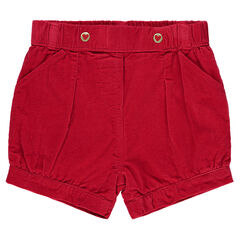 Pinstripe velvet puff shorts with pockets
