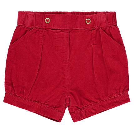 Pinstripe velvet puff shorts with pockets