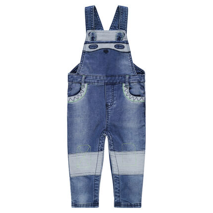 Used-effect denim-like overalls with a bear cub patch
