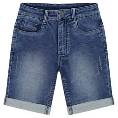 Junior - Used denim-effect fleece bermuda shorts