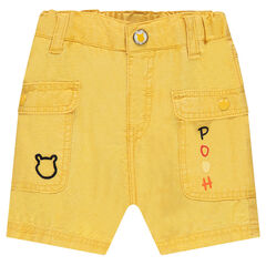 Bermuda shorts in woven cotton with snap-fastened pockets and ©Disney Winnie the Pooh details