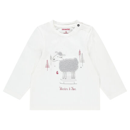 Long-sleeved jersey tee-shirt with a French terry sheep