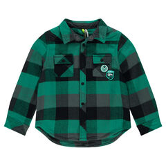 Chevron flannel shirt with pockets and badges