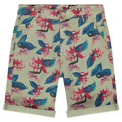Junior - Twill Bermudas with allover vegetation print