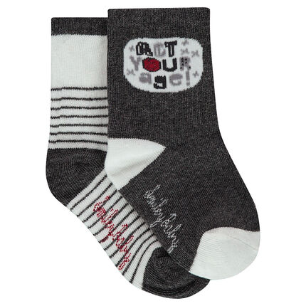 Set of 2 pairs of assorted socks with jacquard stripes / bubble motif