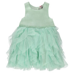 Sleeveless dress with tulle frills