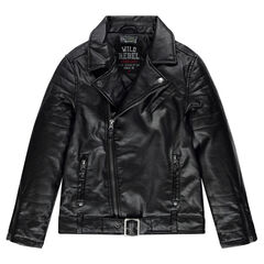 Junior - Leather-effect biker jacket with zipped pockets