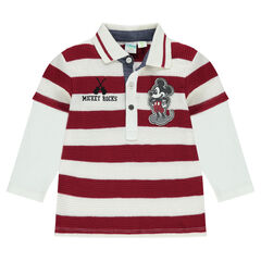 Long-sleeved 2-in-1 effect polo shirt with Disney Mickey Mouse badge