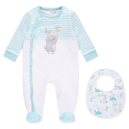 Velvet footed sleeper with an embroidered rabbit and an assorted bib