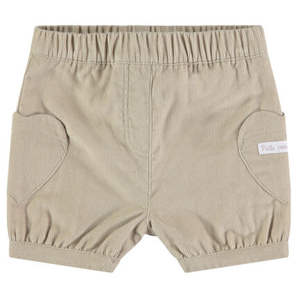 Corduroy shorts with heart-shaped pockets