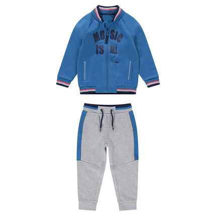 Two-tone fleece sweatsuit with a letterman-style jacket and printed text