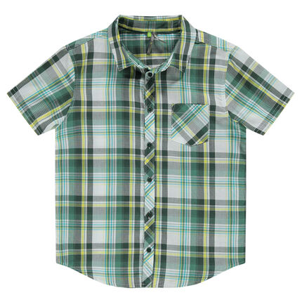 Junior - short-sleeved checkered shirt with pocket