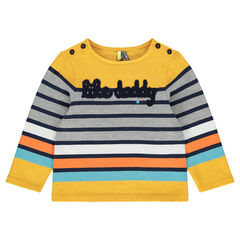 Striped tee-shirt in heavyweight jersey with terry loop knit message