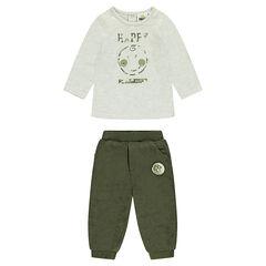 ©Smiley ensemble with printed tee-shirt and khaki velvet pants
