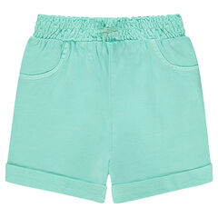 Plain-colored, jersey shorts with smocked waistband