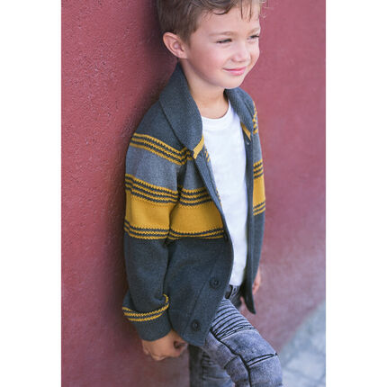 Knit cardigan with contrasting jacquard stripes