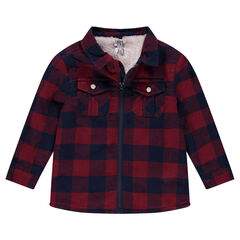 Sherpa-lined zipped checkered overshirt