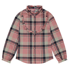 Junior - Long-sleeved fancy checked cotton shirt