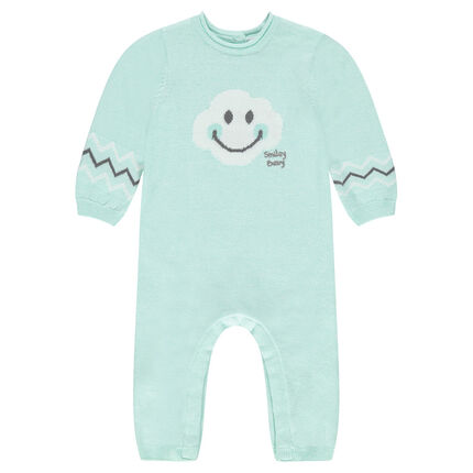 Knit jumpsuit with jacquard ©Smiley Baby motif
