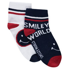2 pairs of socks with © Smiley jacquard pattern