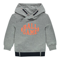 Long hooded fleece sweatshirt with printed message