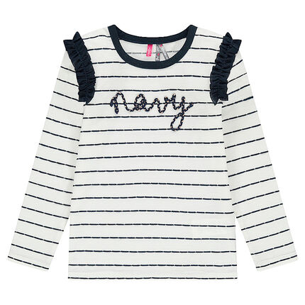 Striped tee-shirt with ruches