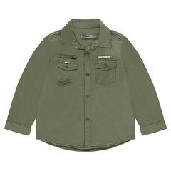 Khaki overshirt with badges and pockets