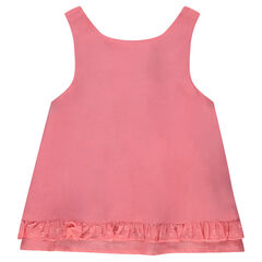 Top in voile fabric with frills in tulle