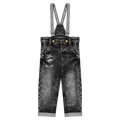 Snow-wash effect fleece jeans with elasticized suspenders