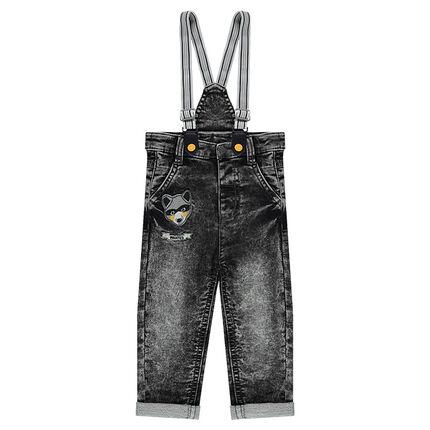 Snow-wash effect fleece jeans with elasticized suspenders