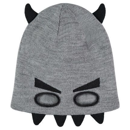 Mask-effect knit cap with textured details