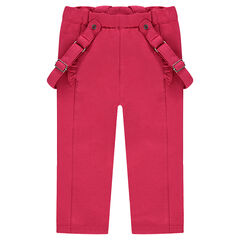 Plain-colored elastane cotton pants with removable straps