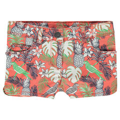Twill shorts with tropical print