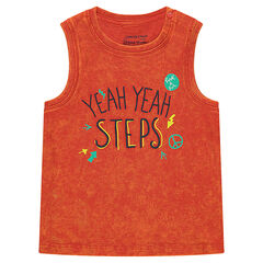 Overdyed orange tank top with a printed message