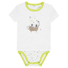 2-in-1 effect, short-sleeved jersey bodysuit with an elephant print