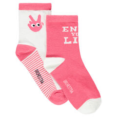 Set of 2 pairs of socks with jacquard hand motifs and message