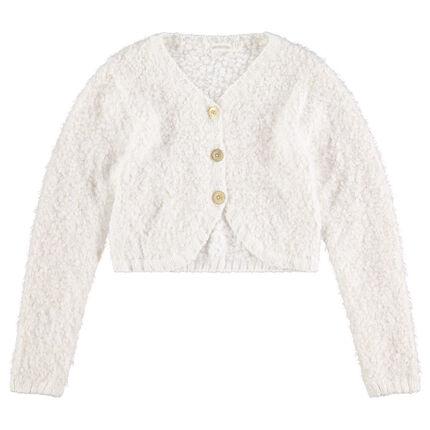 Junior - Buttoned popcorn knit cardigan