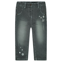 Microfleece-lined distressed crinkled jeans with prints