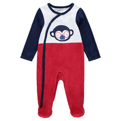 Tricolor velour sleepsuit with monkey print